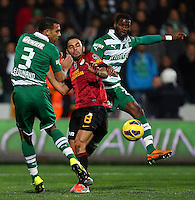 Turkey superleague football match between Bursaspor and Galatasaray at Ataturk Stadium in Istanbul. 02.02.2013.Match Scored: Bursaspor 1 - Galatasaray 1.Pictured: Anton Ferdinand (L) and Maurice Edu (R) of Bursaspor and Selcuk Inan of Galatasaray.