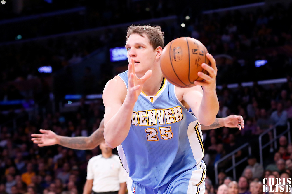 23 November 2014: Denver Nuggets center Timofey Mozgov (25) grabs a rebound during the Denver Nuggets 101-94 overtime victory over the Los Angeles Lakers, at the Staples Center, Los Angeles, California, USA.