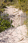 Beach path to a home in Dunmore Town, Harbour Island, The Bahamas
