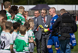 RHOSYMEDRE, WALES - Sunday, May 5, 2019: Football Association of Wales President Kieran O'Connor is presented to the teams before the FAW JD Welsh Cup Final between Connah's Quay Nomads FC and The New Saints FC at The Rock. (Pic by David Rawcliffe/Propaganda)