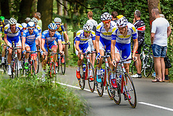 Topsport<br /> Vlaanderen-Baloise leading the peloton during the Arnhem - Veenendaal Classic at Posbank, Rheden, Gelderland, The Netherlands, 21 August 2015.<br /> Photo: Thomas van Bracht / PelotonPhotos.com