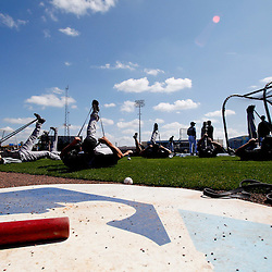 March 8, 2011; Port Charlotte, FL, USA; Toronto Blue Jays players stretch  before a spring training exhibition game against the Tampa Bay Rays at Charlotte Sports Park.  Mandatory Credit: Derick E. Hingle