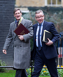 © Licensed to London News Pictures. 07/01/2013. London, UK. Dominic Grieve (L), the Attorney General  and Michael Gove, the Education Secretary, are seen on Downing Street in London today (07/01/13) before the first cabinet meeting of 2013. Photo credit: Matt Cetti-Roberts/LNP