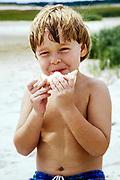 Boy eating a sandwich at the beach.