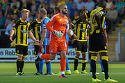 Scunthorpe's sub keeper Joe Anyon comes on for the dismissed Luke Daniels during the Sky Bet League 1 match between Burton Albion and Scunthorpe United at the Pirelli Stadium, Burton upon Trent, England on 8 August 2015. Photo by Aaron Lupton.