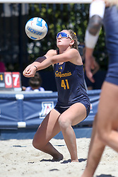 April 7, 2018 - Tucson, AZ, U.S. - TUCSON, AZ - APRIL 07: California Golden Bears Caroline Schafer (41) hits the ball during a college beach volleyball match between the California Golden Bears and the Arizona Wildcats on April 07, 2018, at Bear Down Beach in Tucson, AZ. Arizona defeated California 3-2. (Photo by Jacob Snow/Icon Sportswire (Credit Image: © Jacob Snow/Icon SMI via ZUMA Press)