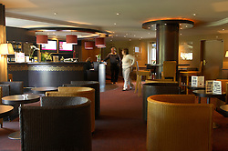 "NORMANDY, FRANCE - MAY-01-2007 - Omaha Beach Golf Club -  The lobby of the Mercure Hotel which sits on the green of hole 9 of ""The Sea"" course. The 3 Star hotel has 70 guest rooms. (Photo © Jock Fistick)"