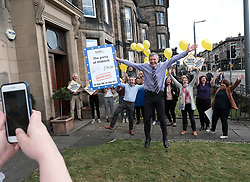 "Scottish Liberal Democrats celebrate English local election results with ""champagne moment"" and confetti cannons, Friday 3rd May 2019<br /> <br /> Scottish Liberal Democrat leader Willie Rennie and European election candidates celebrate the big gains made by Liberal Democrat colleagues overnight in the English local elections and send a message that in every corner of the UK, Liberal Democrats are the party of Remain,  leading the way in fighting to make the chaos of Brexit stop.<br /> <br /> Pictured: Willie Rennie with his team<br /> <br /> Alex Todd 