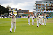 Chris Rogers of Somerset leads his players from the field after their victory over Nottinghamshire in the Specsavers County Champ Div 1 match between Somerset County Cricket Club and Nottinghamshire County Cricket Club at the Cooper Associates County Ground, Taunton, United Kingdom on 22 September 2016. Photo by Graham Hunt.