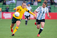 MELBOURNE, VIC - MARCH 06: Caitling Foord (9) of Australia competes with Aldana Cometti (6) of Argentina during The Cup of Nations womens soccer match between Australia and Argentina on March 06, 2019 at AAMI Park, VIC. (Photo by Speed Media/Icon Sportswire)