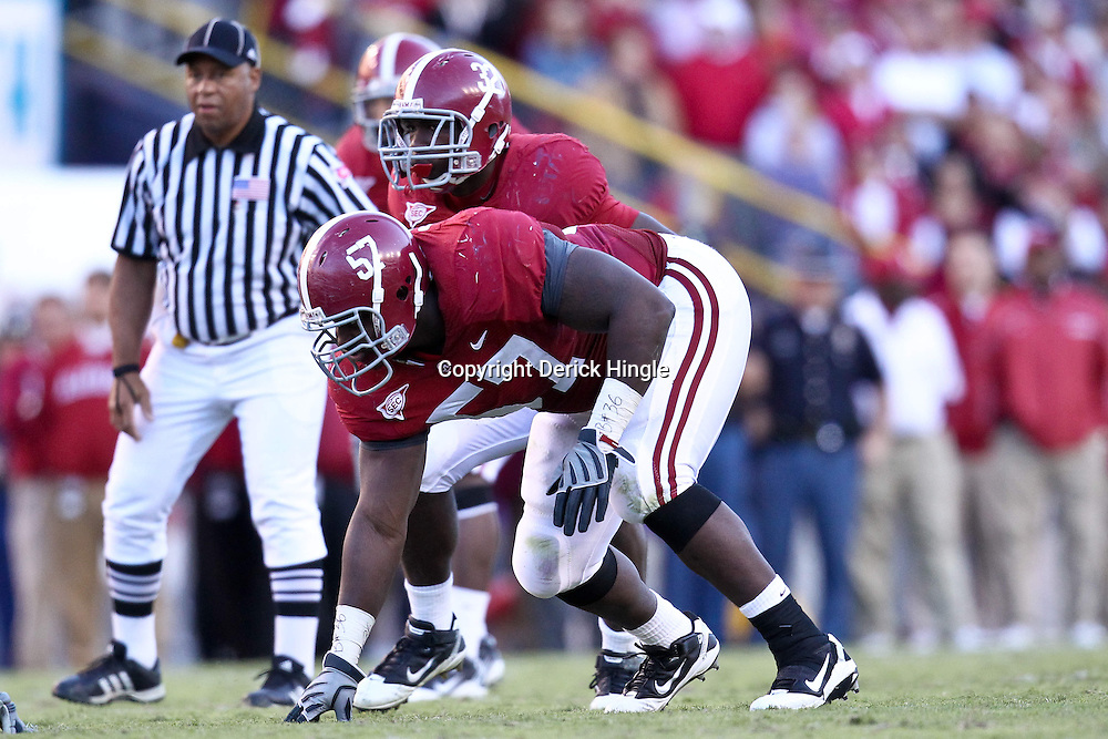 November 6, 2010; Baton Rouge, LA, USA;  Alabama Crimson Tide defensive tackle Marcell Dareus (57) lines up against the LSU Tigers during the second half at Tiger Stadium. LSU defeated Alabama 24-21.  Mandatory Credit: Derick E. Hingle