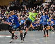 HÅNDBOLD: Dan Beck Hansen (Nordsjælland) får straffekast under kampen i Herre Håndbold Ligaen mellem Nordsjælland Håndbold og Ribe-Esbjerg HH den 4. marts 2019 i Frederiksborgcenteret i Hillerød. Foto: Claus Birch.
