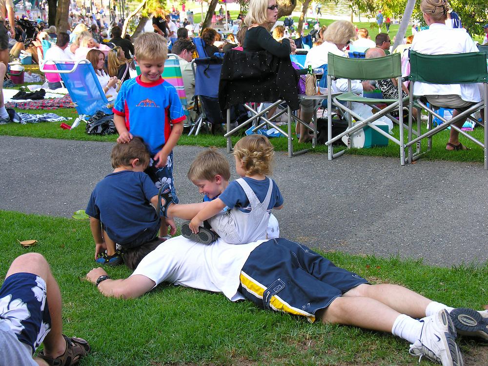The simple pleasures of life. Sunday concert in the park, Manhattan Beach, California.