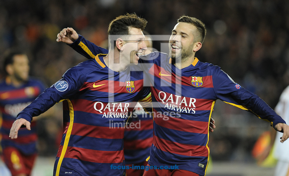 Lionel Messi (left) of FC Barcelona celebrates scoring his second goal with Jordi Alba during the UEFA Champions League match at Camp Nou, Barcelona<br /> Picture by Stefano Gnech/Focus Images Ltd +39 333 1641678<br /> 24/11/2015