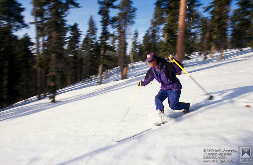 Skier telemarking on backcountry trail, No. Rim Nordic Ctr., Grand Canyon National Park, Arizona..Media Usage:.Subject photograph(s) are copyrighted Edward McCain. All rights are reserved except those specifically granted by McCain Photography in writing...McCain Photography.211 S 4th Avenue.Tucson, AZ 85701-2103.(520) 623-1998.mobile: (520) 990-0999.fax: (520) 623-1190.http://www.mccainphoto.com.edward@mccainphoto.com.