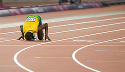 © Licensed to London News Pictures. 09/08/2012. London,UK.Jamaica's Usain Bolt celebrates after winning the Men's 200m final during the London 2012 Olympic Games Athletics, Track and Field events at the Olympic Stadium.  Photo credit : Bogdan Maran/LNP/BPA