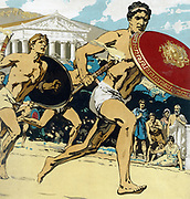 Ancient Olympic Games: the relay race. Runners had to keep alight the flame and hand it to their fellows.This 1922 reconstruction shows runner protecting flame with shield. Chromolithograph.