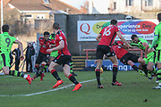 Forest Green Rovers Farrend Rawson(20) goes down in the penalty area having his shirt pulled during the EFL Sky Bet League 2 match between Morecambe and Forest Green Rovers at the Globe Arena, Morecambe, England on 17 February 2018. Picture by Shane Healey.