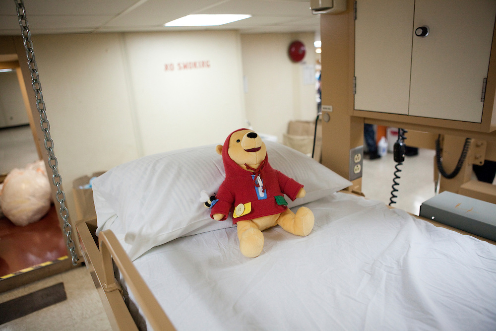A Winnie the Pooh doll awaits patients in the pediatric ward on board the USNS Comfort, a U.S. Naval hospital ship, on January 21, 2010 in Port-au-Prince, Haiti. The Comfort deployed from Baltimore with 550 medical personnel on board to treat victims of Haiti's recent earthquake, and arrived on January 20.
