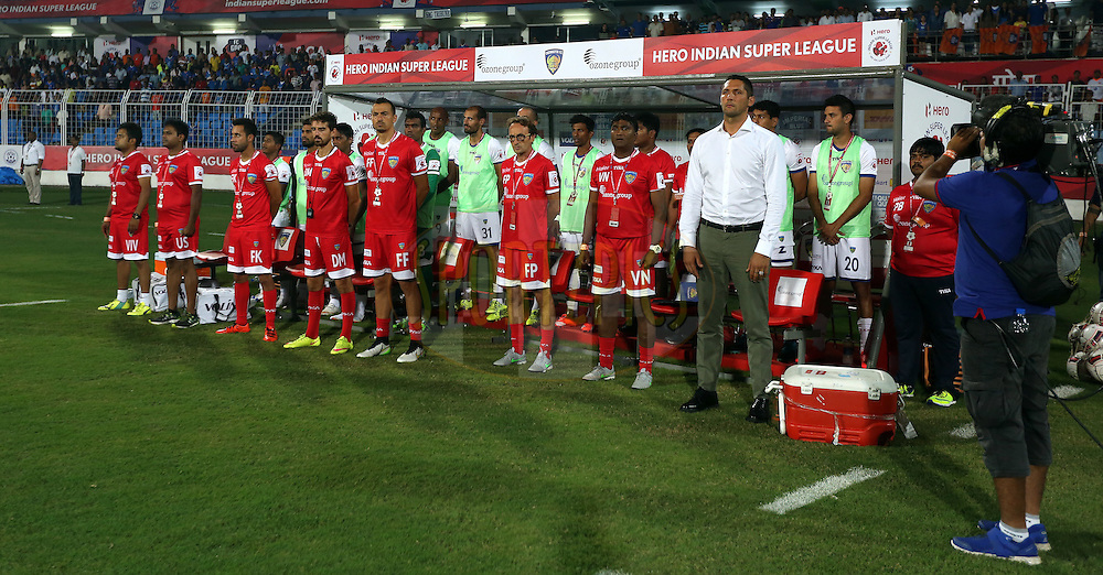 Chennaiyin FC team stand in dugout for national anthem during match 9 of the Indian Super League (ISL) season 2  between FC Goa and Chennaiyin FC held at the Jawaharlal Nehru Stadium, Fatorda, Goa, India on the 11th October 2015.<br /> <br /> Photo by Sandeep Shetty / ISL/ SPORTZPICS