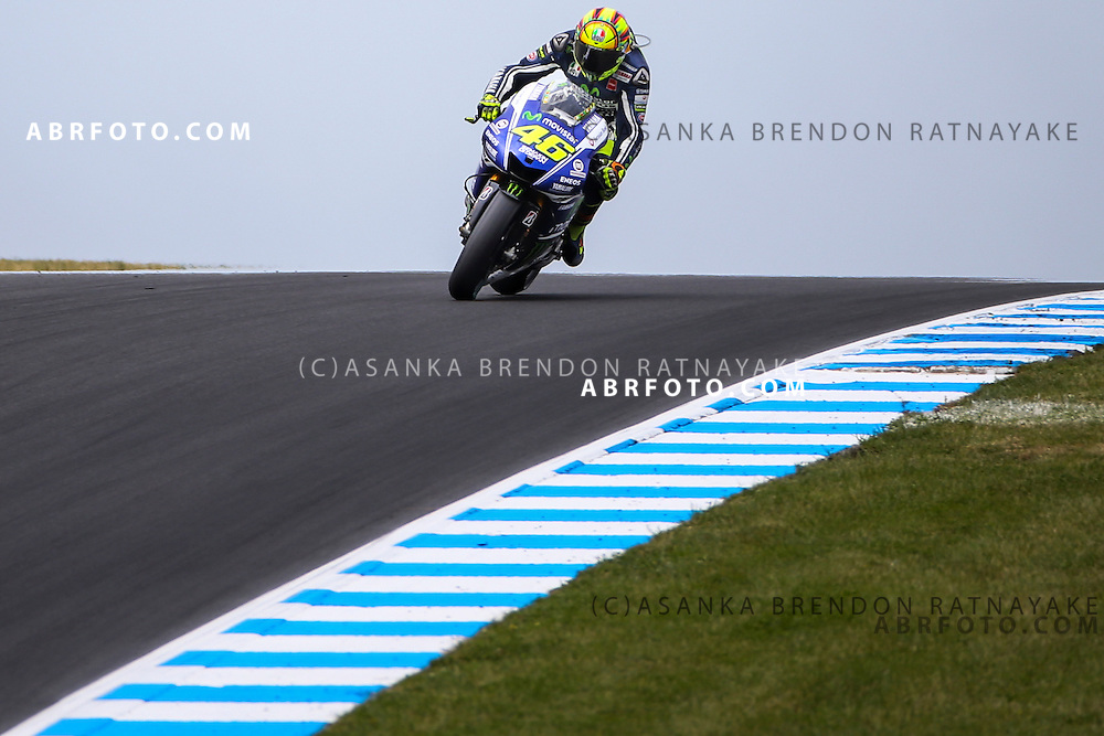Valentino Rossi riding for Movistar Yamaha MotoGP approaches Lukey Heights corner during the 2014 MotoGP of Australia at Phillip Island Grand Prix Circuit in Phillip Island, Australia on the 19th of October 2014 Photo Asanka Brendon Ratnayake