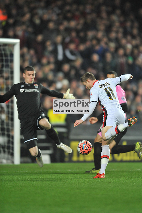 MK DONS SIMON CHURCH ATTACKS NORTHAMPTONS GOAL, MK Dons v Northampton Town, FA Cup Emirates FA Cup Third round Repay, Stadium MK, Tuesday 19th January 2016