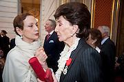 PHILIMENE D'ROBERT; JACQUELINE DE RIBES; Legion d'honneur awards. Elysee Palace, Presidence. Rue du Faubourg. 50 Rue de la Bienfaisance. Paris. 07 April 2010