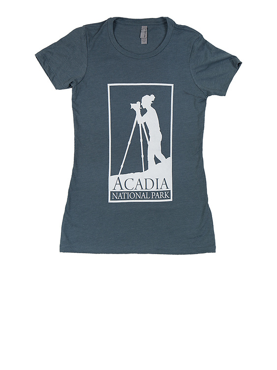 The Acadia National Park photographer's T-shirt, available exclusively through J.K. Putnam Photography. Available in indigo blue, women's sizes XS, S, M, L, XL.