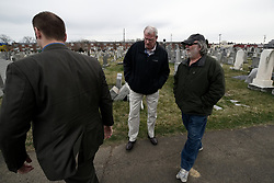 Detectives talk to Richard Levy, Cemetery Manager at Han Nebo Jewish cemetery, in Philadelphia, PA, on Feb. 27, 2017.<br /> The Jewish cemetery is located less then 2miles away, and is under the same management of Mt. Carmel Jewish Cemetery in Northwest Philadelphia, PA. Over the weekend hundreds of headstones were vandalized at Mt Carmel but management claims the toppled headstones at Han Nebo are not related.