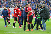 Manchester United Manager Louis van Gaal celebrates and congratulates with Anthony Martial of Manchester United after the The FA Cup semi final match between Everton and Manchester United at Wembley Stadium, London, England on 23 April 2016. Photo by Phil Duncan.