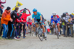 Rider of Astana Pro Team (KAZ,WT,Argon 18) during the 2019 Paris-Roubaix (1.UWT) with 257 km racing from Compi&egrave;gne to Roubaix, France. 14th April 2019. Picture: Thomas van Bracht | Peloton Photos<br /> <br /> All photos usage must carry mandatory copyright credit (Peloton Photos | Thomas van Bracht)