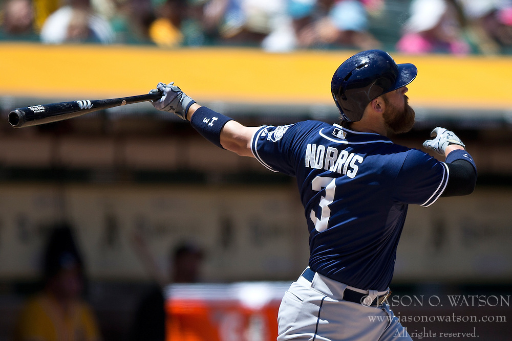 OAKLAND, CA - JUNE 18:  Derek Norris #3 of the San Diego Padres hits a home run against the Oakland Athletics during the sixth inning at O.co Coliseum on June 18, 2015 in Oakland, California. The San Diego Padres defeated the Oakland Athletics 3-1. (Photo by Jason O. Watson/Getty Images) *** Local Caption *** Derek Norris