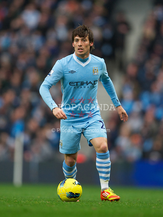 MANCHESTER, ENGLAND - Saturday, December 3, 2011: Manchester City's David Silva in action against Norwich City during the Premiership match at City of Manchester Stadium. (Pic by David Rawcliffe/Propaganda)