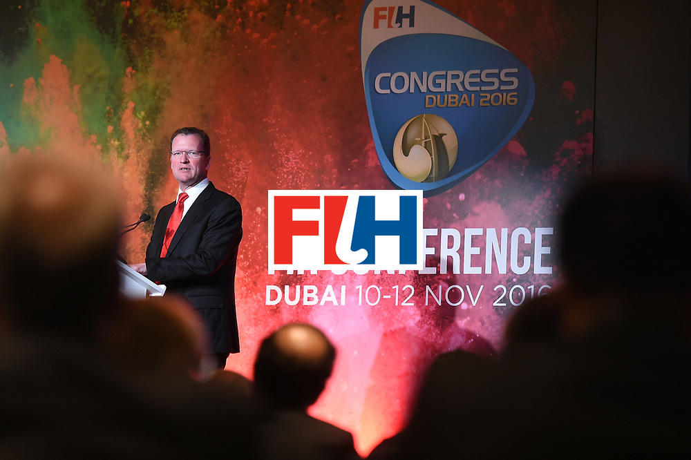 DUBAI, UNITED ARAB EMIRATES - NOVEMBER 12:  Newly appointed CEO of The International Hockey Federation, Jason McCracken speaks during the 45th FIH Congress on November 12, 2016 in Dubai, United Arab Emirates.  (Photo by Tom Dulat/Getty Images)