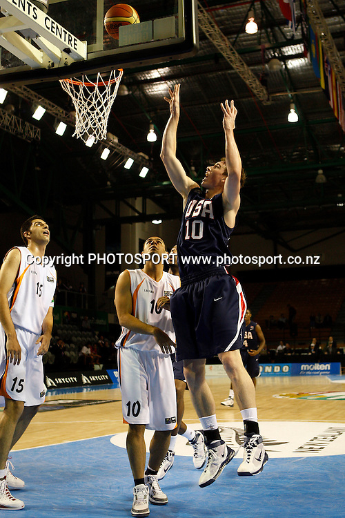 USA Forward Gordon Hayward shoots during the USA's 106-55 victory over Iran.<br />
