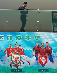 NANNING, CHINA - Thursday, March 22, 2018: Wales branding at the Nanning Wanda Mall ahead of the 2018 Gree China Cup International Football Championship match between China and Wales. (Pic by David Rawcliffe/Propaganda)