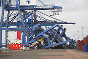 Accident at Port of Felixstowe after crane carrier ship collides with dockside cranes during storm, Felixstowe, Suffolk, England