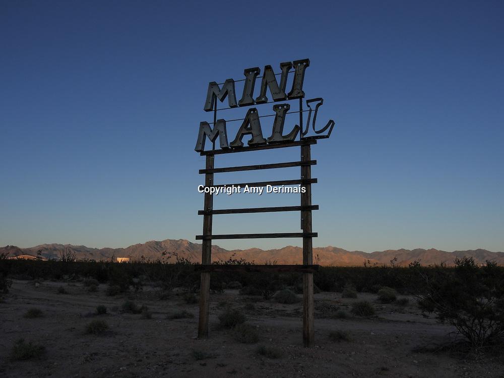 "High Desert Test Sites 2013. Landon Wiggs ""Mall Ruin"" mall sign in Yucca, Arizona."