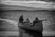 Family coming back from a fishing day on the Hudson bay.
