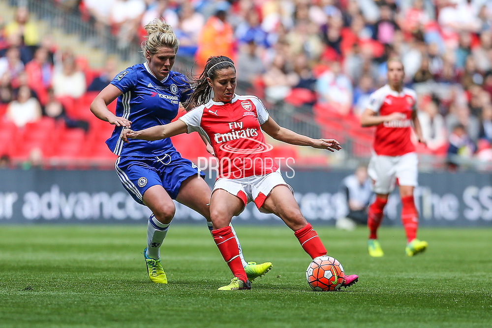 Arsenal Ladies midfielder Fara Williams on the ball during the SSE Women's FA Cup Final match between Chelsea Ladies and Arsenal Ladies at Wembley Stadium, London, England on 14 May 2016. Photo by Shane Healey.