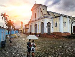Church of Holy Trinity in Cuba. Plaza mayor, main square.