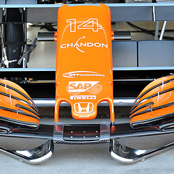 Fernando Alonso's spare front wing for his McLaren Honda Formula 1 car.<br /> <br /> Round 1 - 2nd day of the 2017 Formula 1 Rolex Australian Grand Prix at The circuit of Albert Park, Melbourne, Victoria on the 24th March 2017.<br /> Wayne Neal | SportPix.org.uk