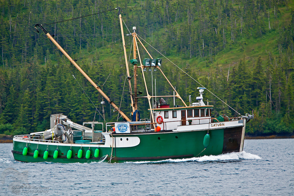 "The fishing vessel ""Saturn,"" cruises Prince William Sound buying gillnet fish from smaller boats. The Saturn then takes the fish to Copper River Seafoods plant in Cordova, Alaska for processing."