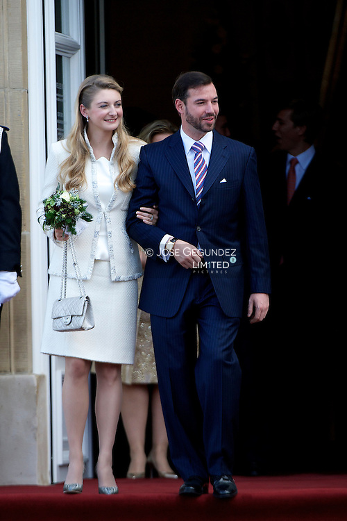 Guillaume, Hereditary Grand Duke of Luxembourg, and Belgian Countess Stephanie de Lannoy  get married at the Civil ceremony of HRH Guillaume the Hereditary Grand Duke and Countess Stephanie de Lannoy at Luxembourg City Town Hall on October 19, 2012 in Luxembourg