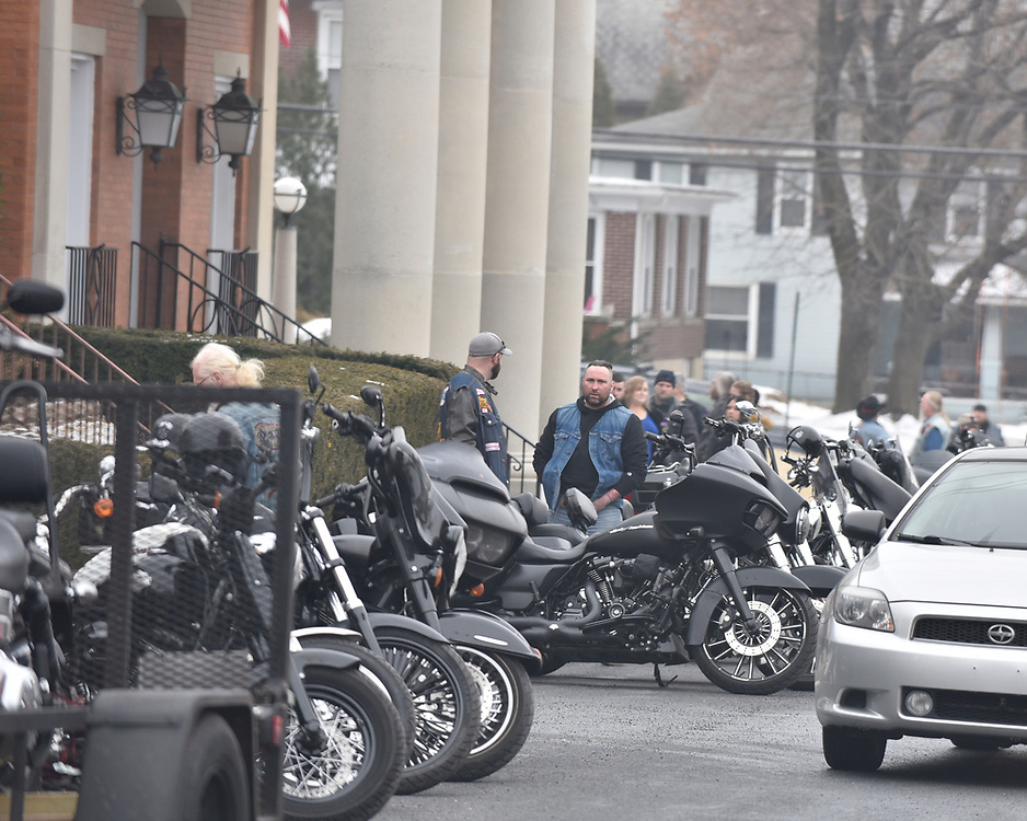 "More than 100 members of the Pagans Motorcycle Club gather Saturday, Feb. 10, 2018, at Schisler Funeral Home in Northampton to say goodbye to Ronald S. ""Rocky"" Bedics Jr. He died Feb. 5 at St. Luke's in Fountain Hill at age 54."
