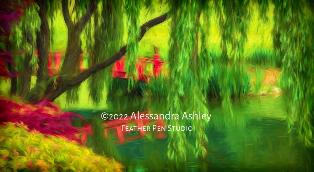 Red bridge with reflection under willow tree in Asian-themed garden, with painted effects.