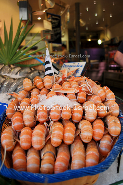France, Paris, A pile of shrimps on display at an entrance to a restaurant