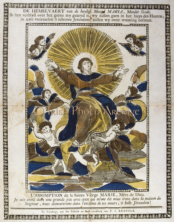 Assumption of the Virgin Mary. 19th century coloured woodcut.