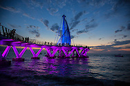 Photo Randy Vanderveen.Puerto Vallarta, Jalisco, Mexico.13-02-01.Los Muertos Pier in Puerto Vallarta against the sunset. The pier re-opened January 2013 after three years.