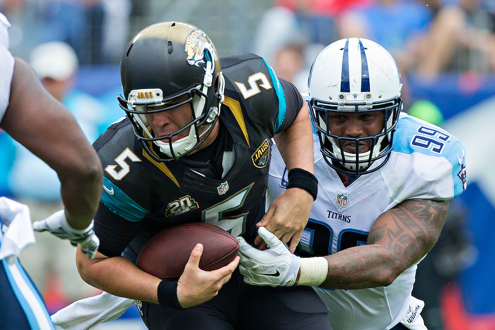 NASHVILLE, TN - OCTOBER 12:  Jurrell Casey #99 of the Tennessee Titans sacks Blake Bortles #5 of the Jacksonville Jaguars at LP Field on October 12, 2014 in Nashville, Tennessee.  The Titans defeated the Jaguars 16-14.  (Photo by Wesley Hitt/Getty Images) *** Local Caption *** Jurrell Casey; Blake Bortles